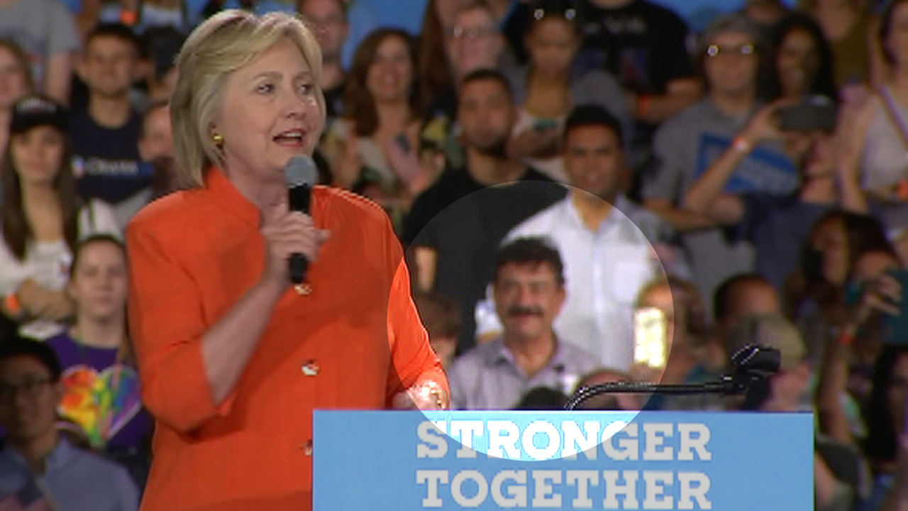 Clinton discusses Orlando massacre as shooter's dad looks on