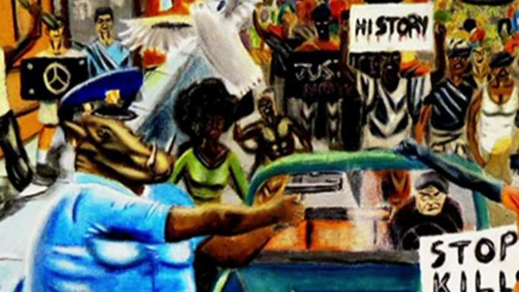 Painting depicting cops as animals displayed on Capitol Hill