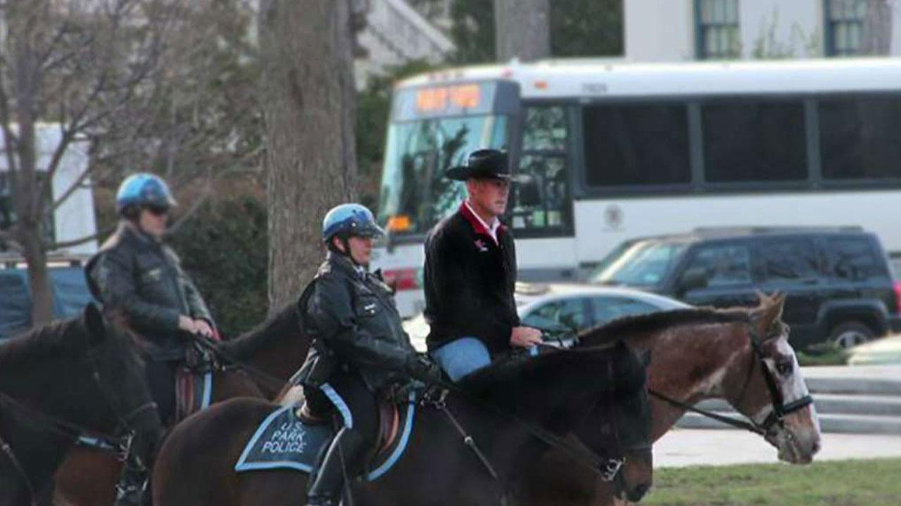 Interior Secretary Zinke rides horse to first day at work