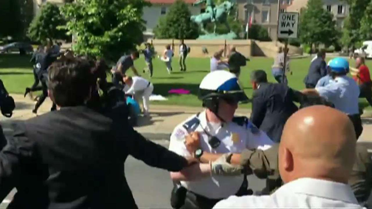 Violent brawl outside Turkish embassy in Washington DC