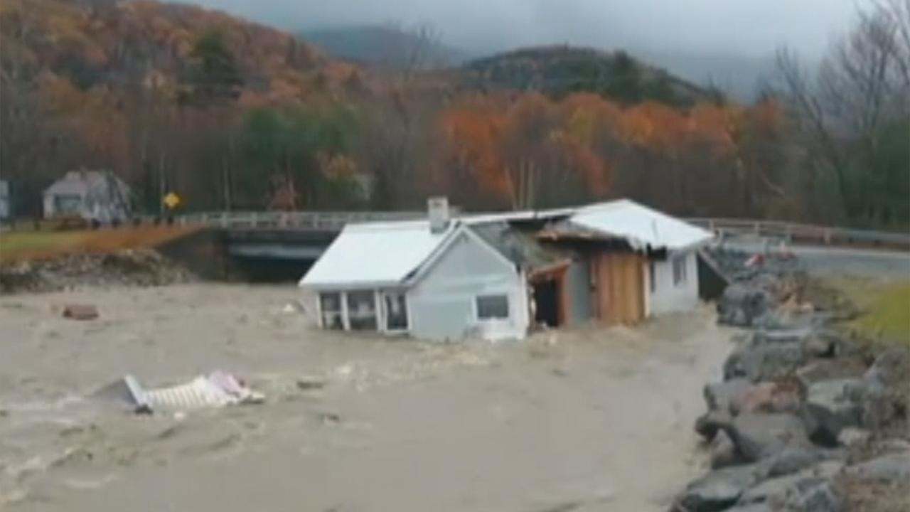 Home swept away by intense floodwaters in New Hampshire
