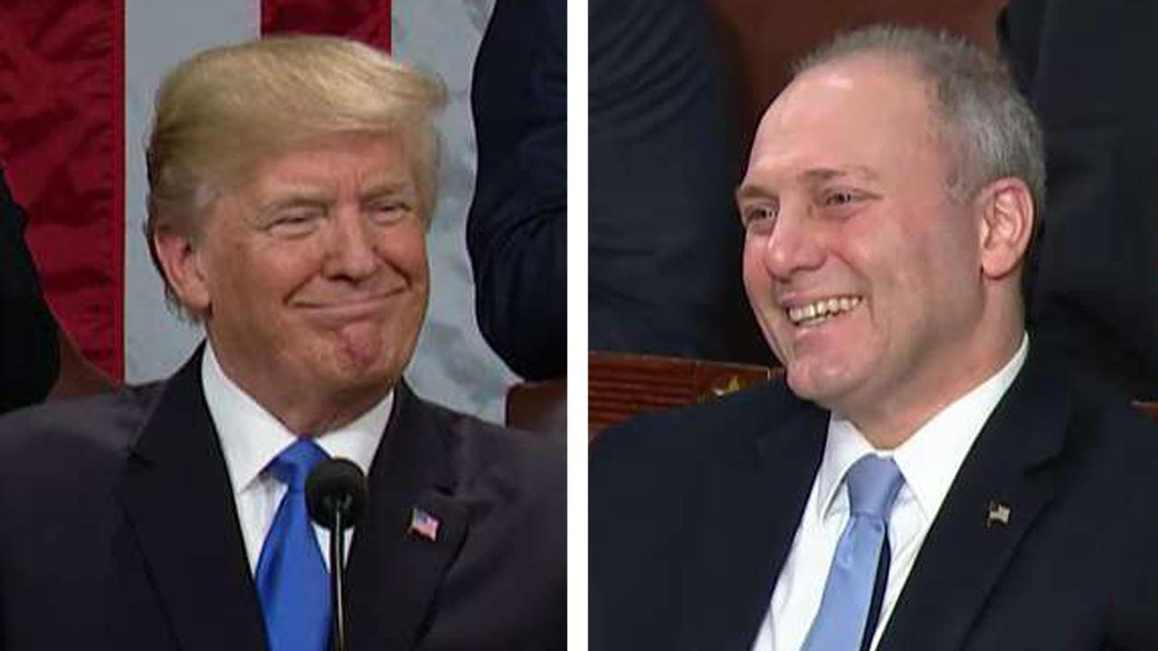 President Trump salutes Steve Scalise at SOTU