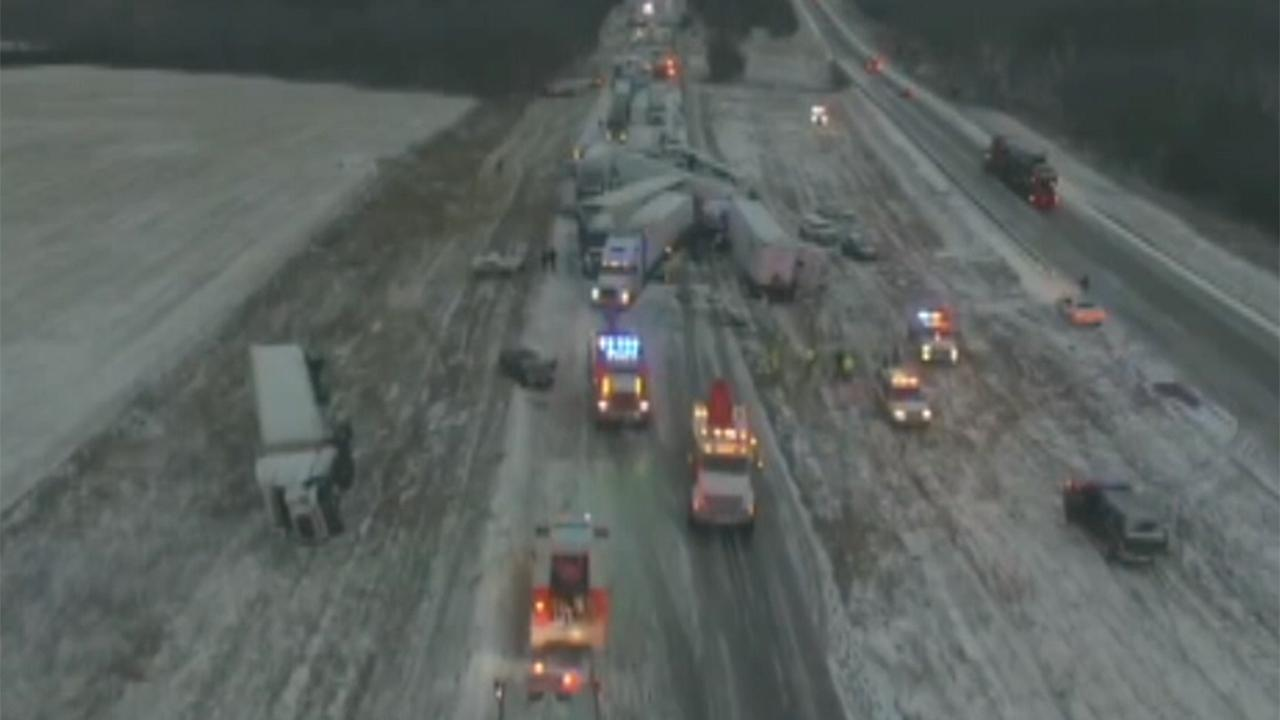 Drone footage reveals magnitude of Missouri highway pileup