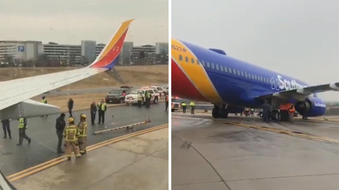 Southwest flight skids off icy runway in Maryland