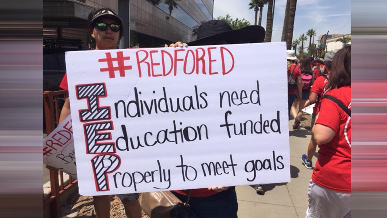 Arizona teachers demand massive fund raises