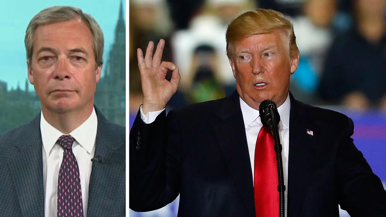 Nigel Farage reacts after Trump takes on the European Union