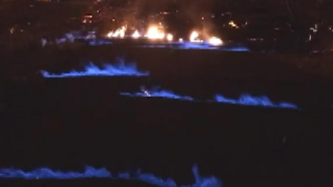 Eerie blue flames emerge from Hawaii's Kilauea Volcano