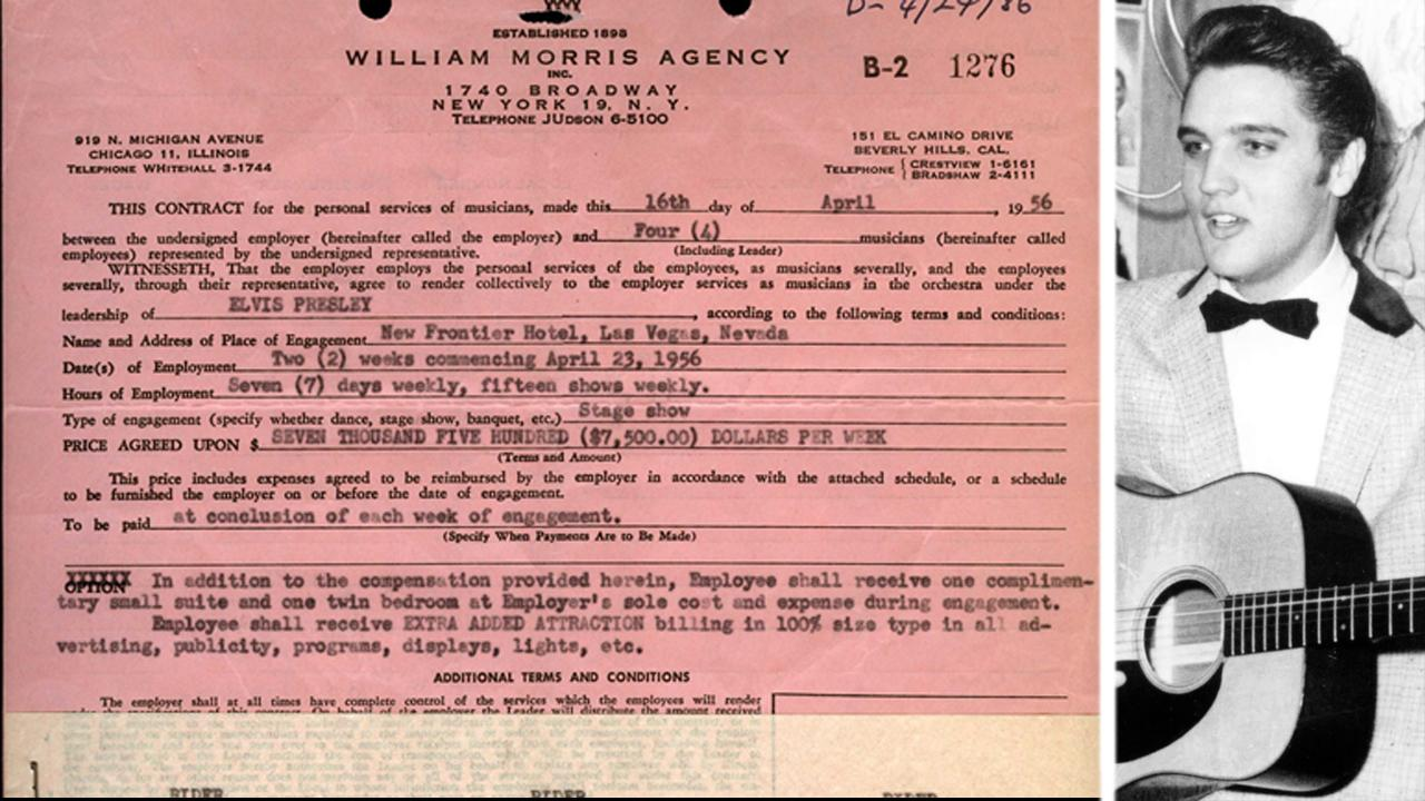 Elvis Presley's contract for his first Las Vegas shows up