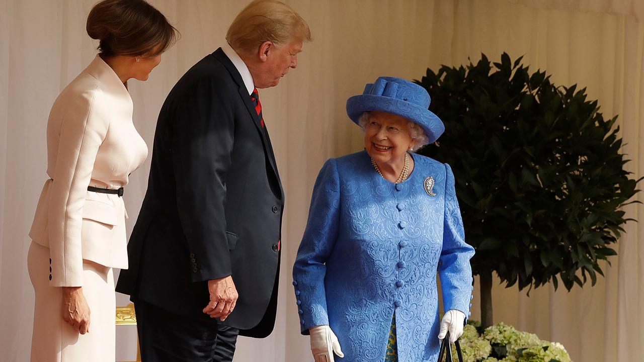 Trump meets the queen as 'Trump Baby' flies in London