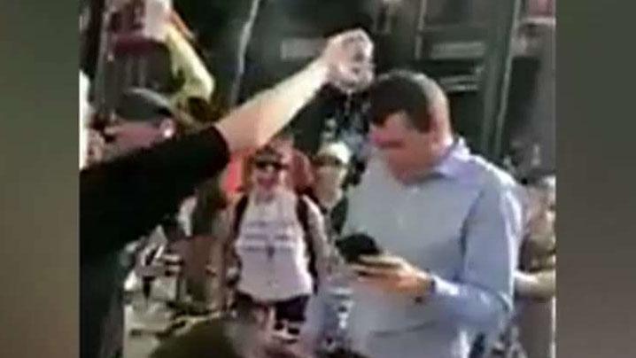 Conservative speakers targeted by far left demonstrators