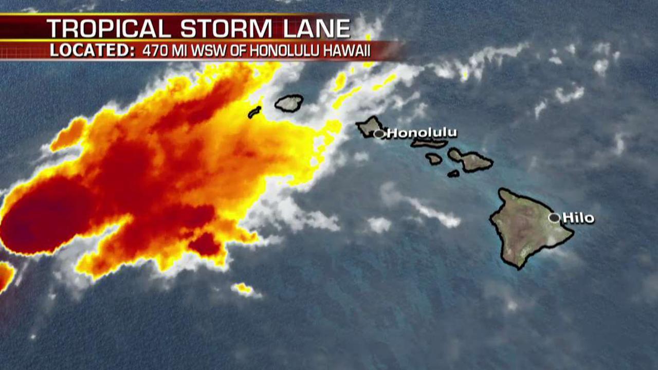 Live satellite image of Tropical Storm Lane