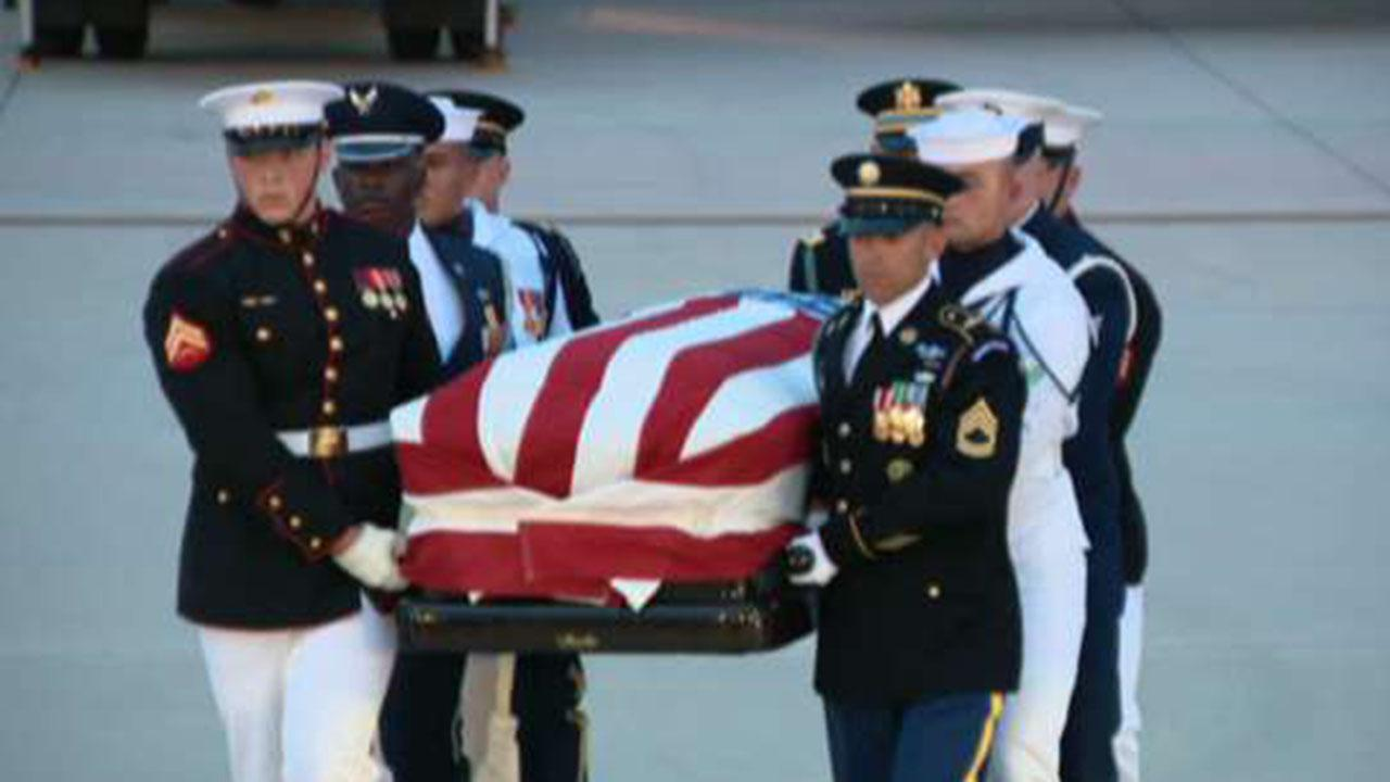 John McCain's casket arrives at Joint Base Andrews