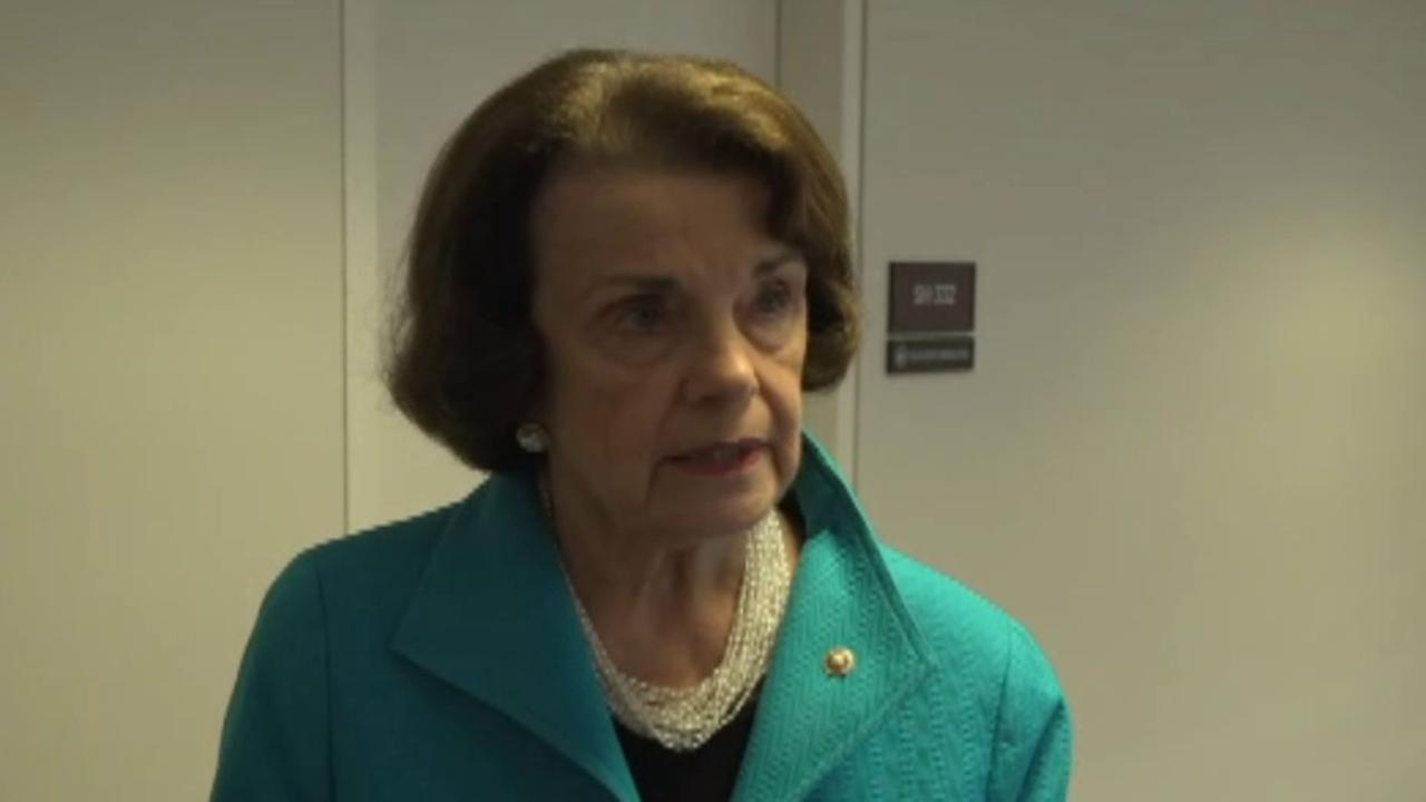 Senator Feinstein talks to reporters about Kavanaugh accuser