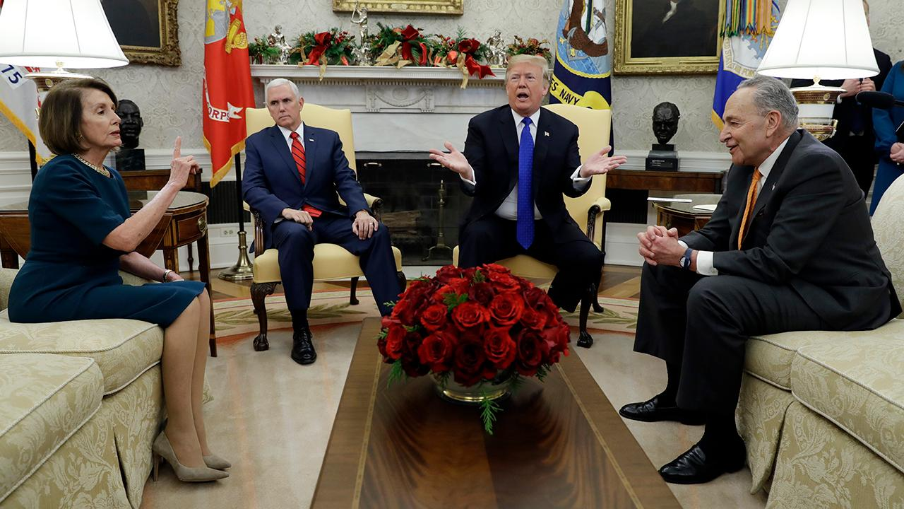 President Trump, Rep. Pelosi and Sen. Schumer debate border security in front of reporters at the White House ahead of their private meeting on government funding.