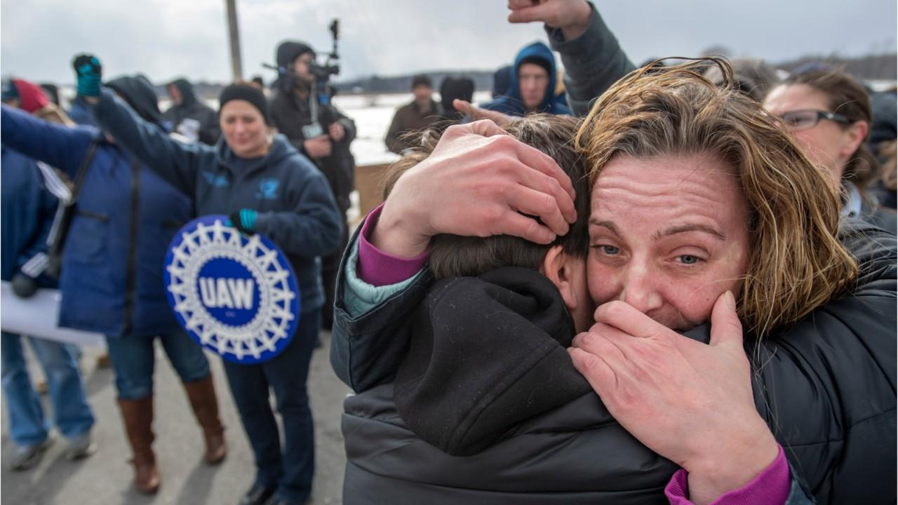 Union workers rally in support of their now unemployed colleagues as Lordstown, OH GM plant idles to a stop, rolling the final Chevrolet Cruzes off the assembly line.