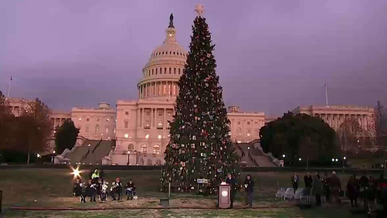 House Speaker Nancy Pelosi leads the 2019 Capitol Tree Lighting Ceremony, a tradition since 1964.