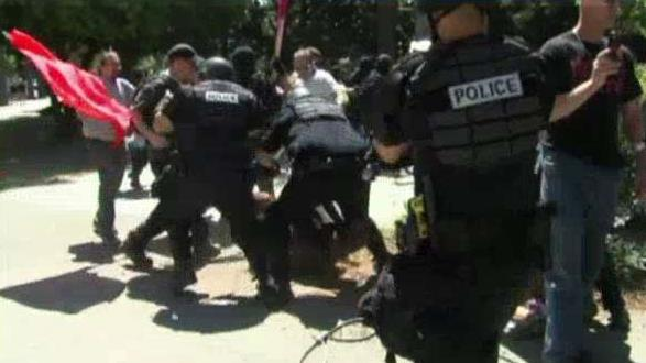 Protesters attack neo-Nazi rally members in California