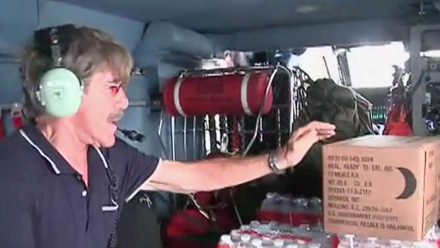 Geraldo Rivera flies with Coast Guard in Puerto Rico