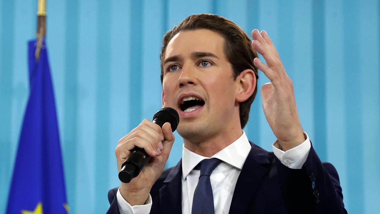 Austria's Sebastian Kurz celebrates a historic win