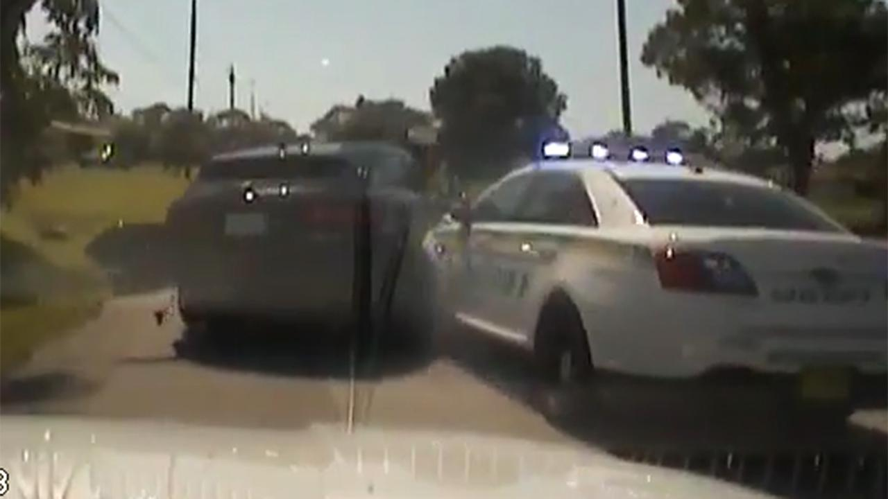 Demolition derby-style ending to high-speed police chase