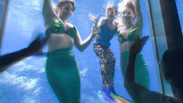 Critically ill six-year-old get her wish to swim with mermaids