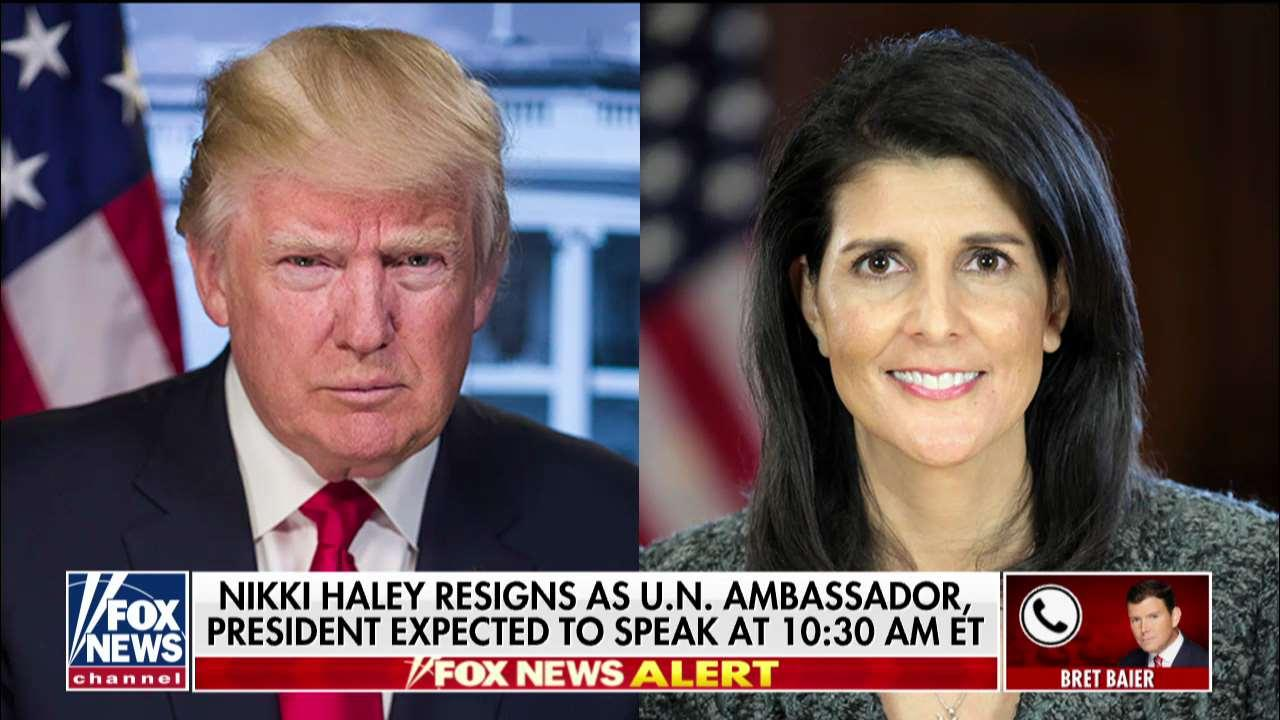 'This Is Surprising': Bret Baier Reacts to UN Ambassador Nikki Haley's Resignation