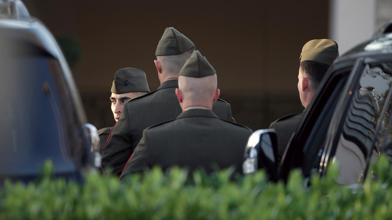 President George H.W. Bush's motorcade leaves funeral home