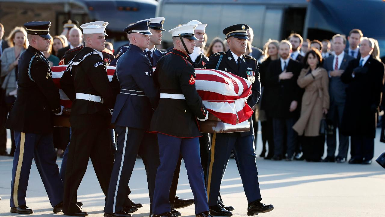 George H.W. Bush's box arrives during Joint Base Andrews