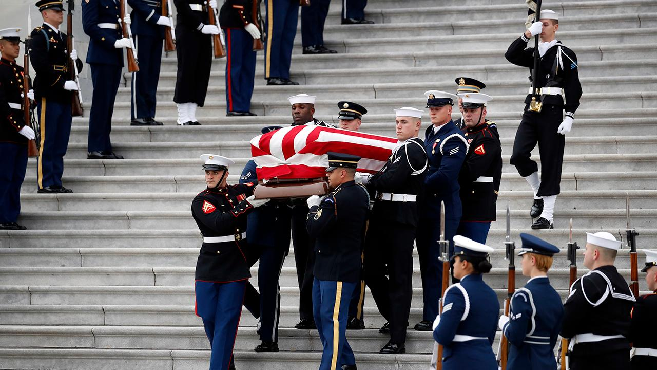 Casket of President George H.W. Bush departs US Capitol