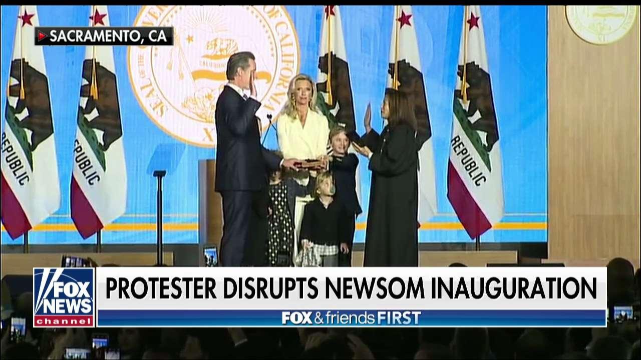Protester Interrupts New CA Gov. Newsom's Swearing-In Ceremony