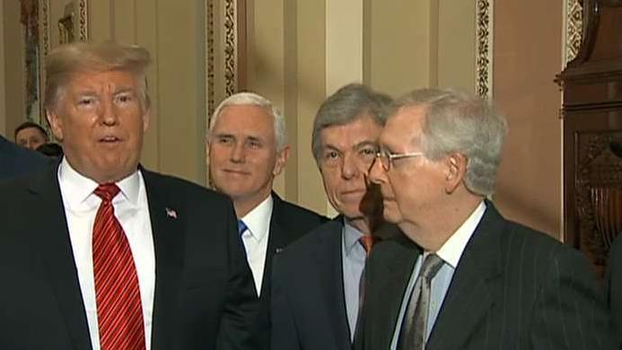 Trump presents a united front with GOP after leaving a meeting on Capitol Hill with Senate Republicans