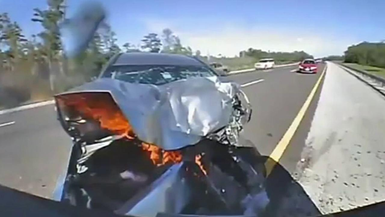 Dramatic video in Florida shows collision with cop car on I-75