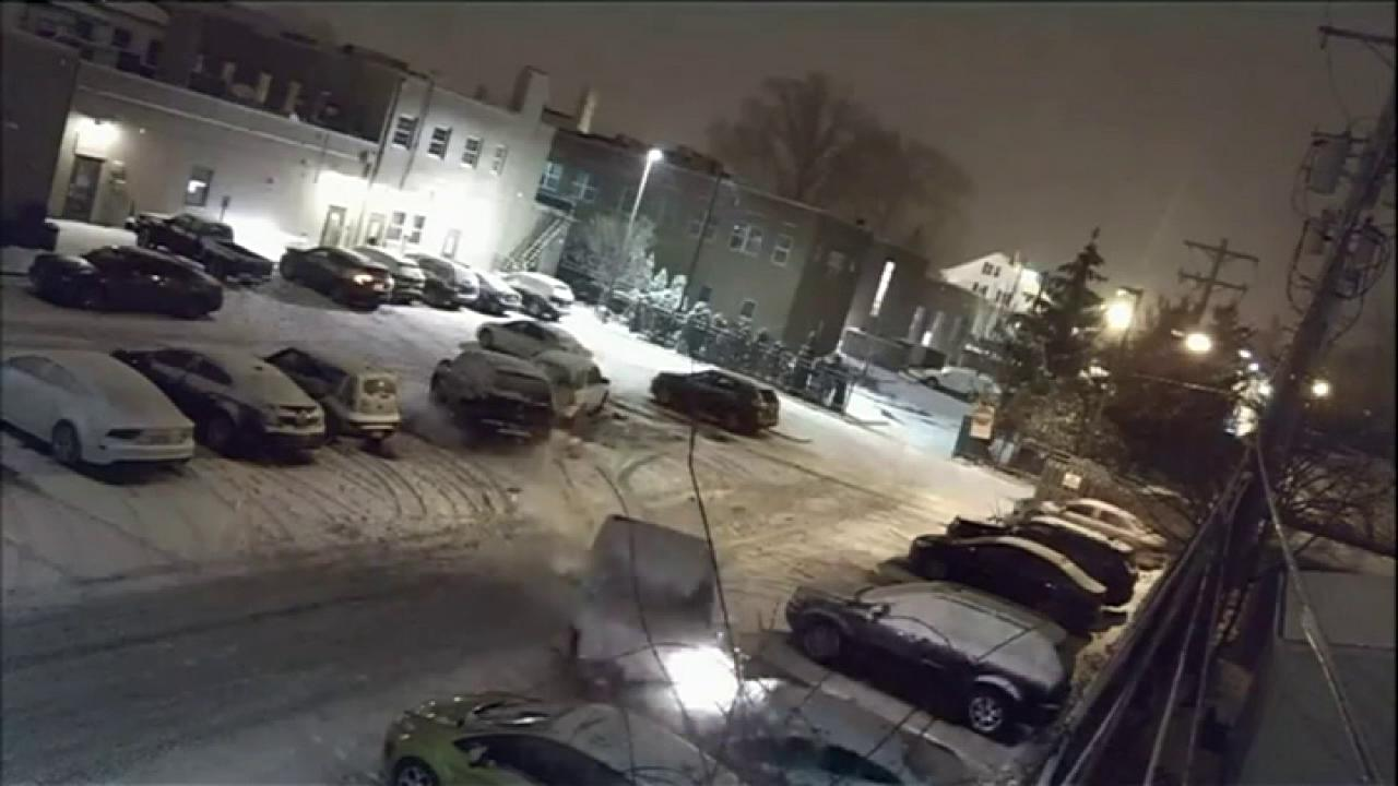 Security camera footage catches video of an Ohio diver plowing into parked cars