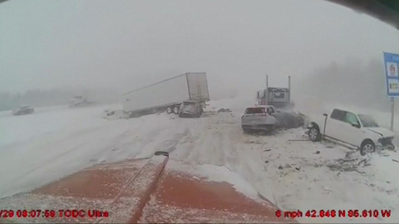 Truck driver swerves to avoid accident involving multiple vehicles on Michigan highway