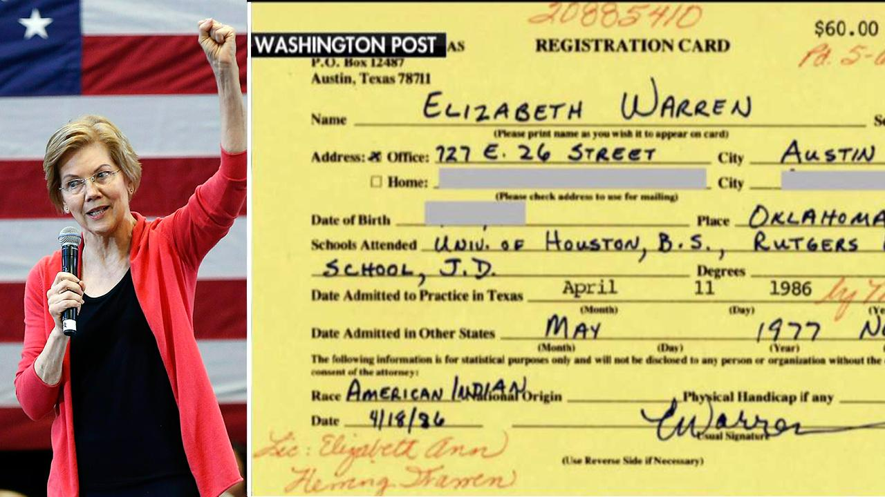 Elizabeth Warren listed race as 'American Indian' in Texas State Bar registration