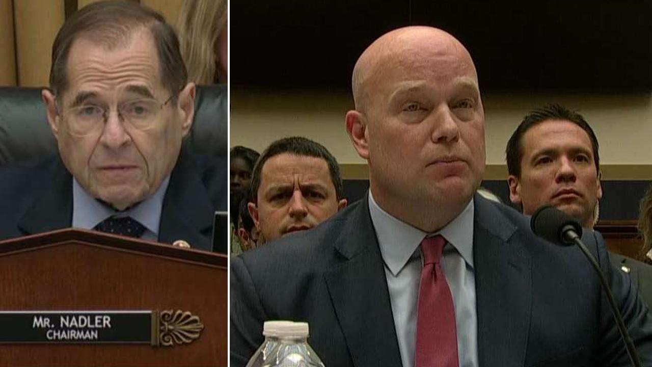 Photo of Rep. Nadler facing another photo of Acting AG Whitaker