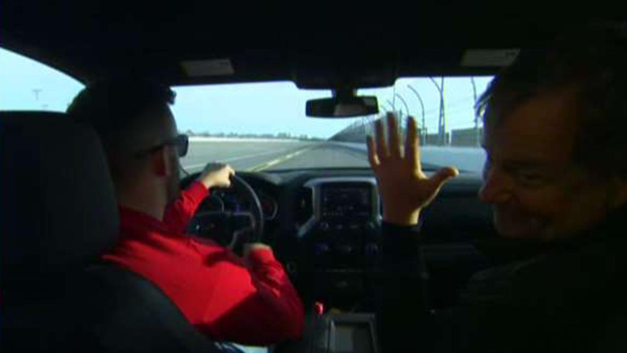Rick takes a spin inside the pace truck with NASCAR driver Austin Dillon