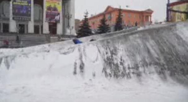 Black, post-apocalyptic snow blankets part of Siberia