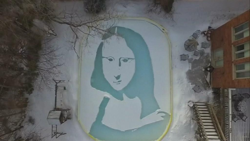 Toronto man recreates da Vinci's 'Mona Lisa' on backyard ice rink