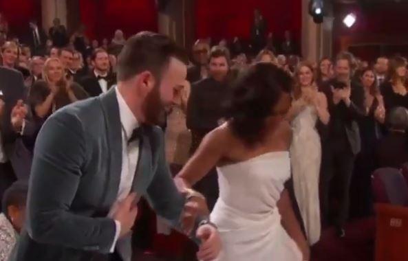 Oscars: Chris Evans wins fans over when he helped best supporting actress winner Regina King