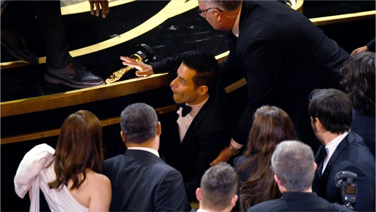 Rami Malek, best actor winner, treated by paramedics after fall at Oscars