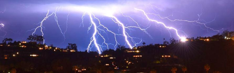 Lightning strikes in skies across Southern California