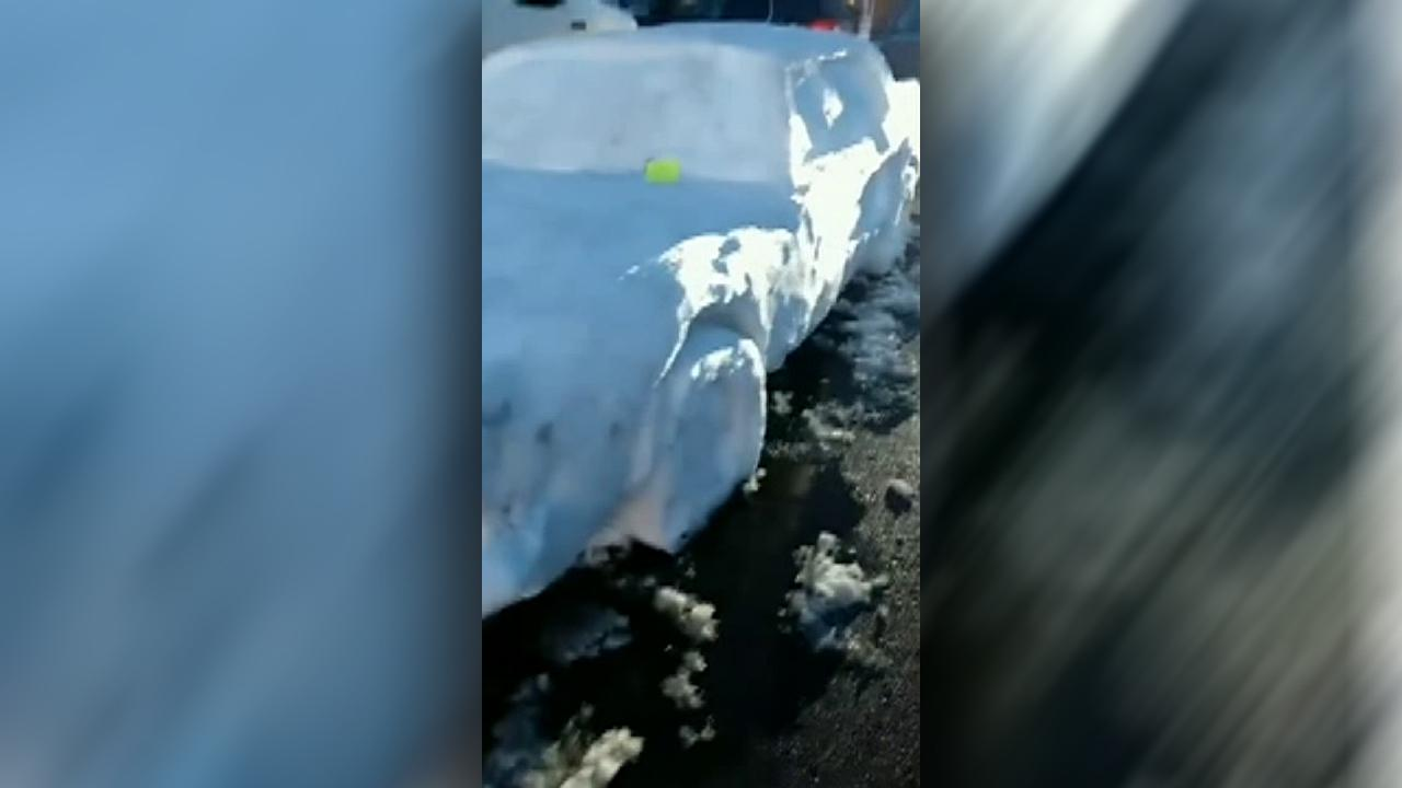 Nebraska state trooper 'pulls over' Mustang made entirely of snow