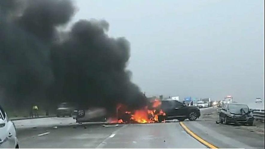 Massive car pileup in California