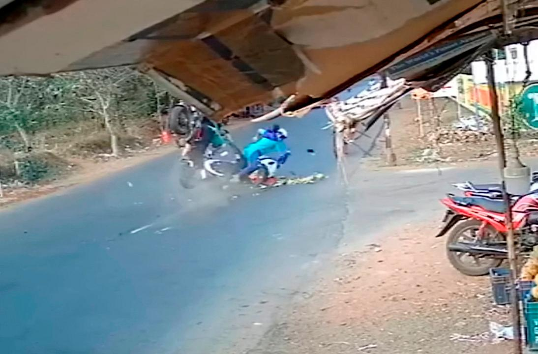 India: A scooter rider's miracle escape after getting hit at full speed by another biker