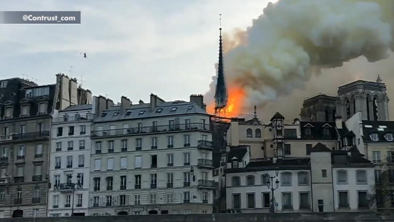 Large fire burns at Notre Dame Cathedral in Paris