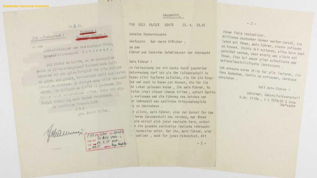 Hitler's 'suicide note' from his final days surfaces