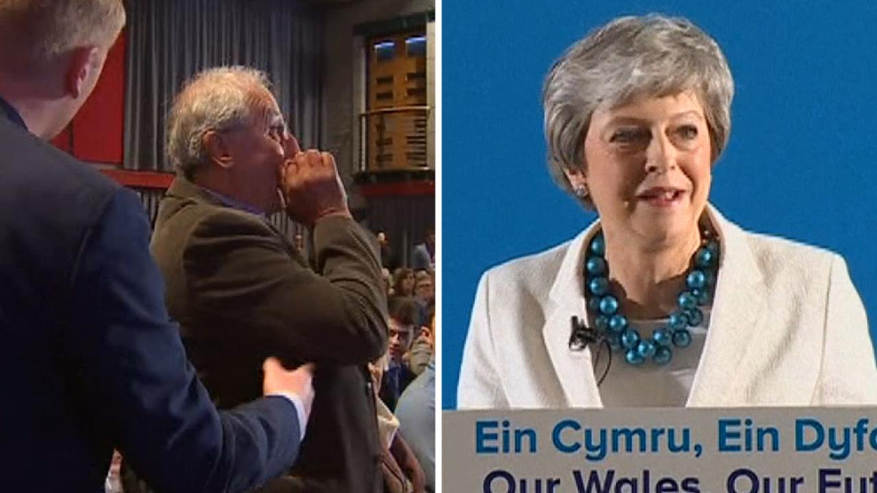 'We don't want you': Man heckles British Prime Minister Theresa May during speech in Wales