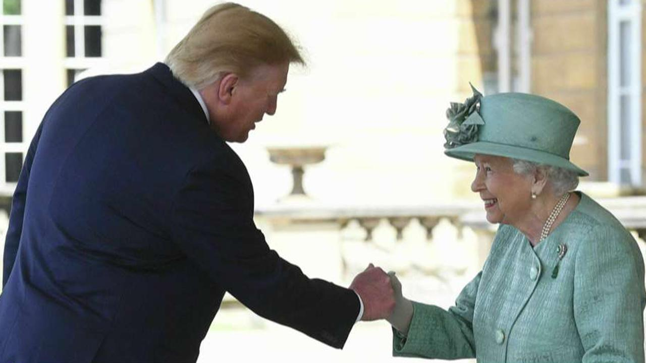 President Trump kicks off UK visit with a fist bump to the queen
