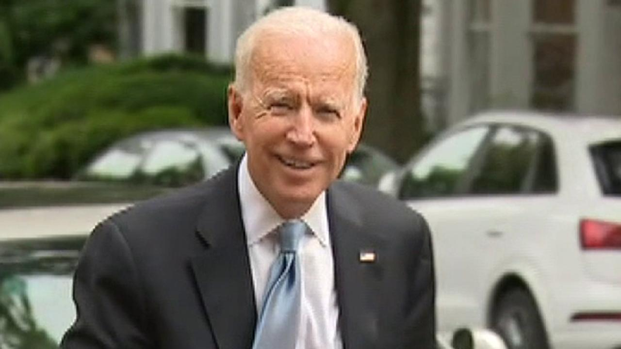 Former VP Joe Biden gives brief comments to reporters outside a campaign fundraiser in Washington, D.C.